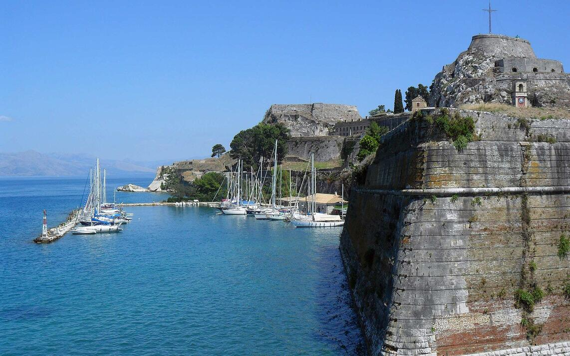 Sailboats in the harbor on the island of Corfu, Greece