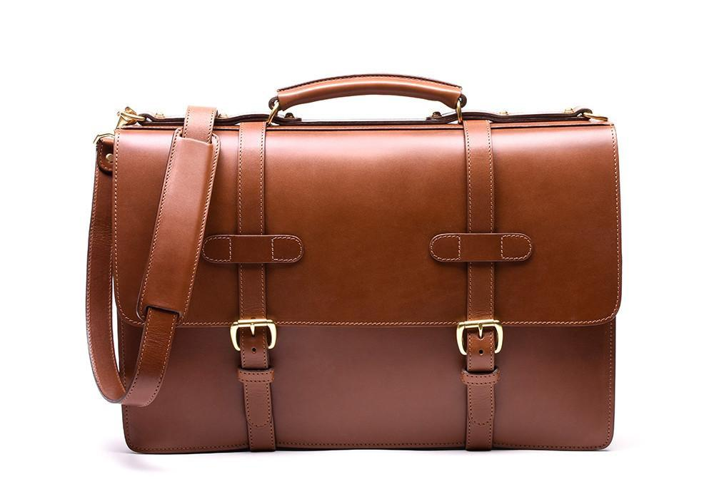Lotuff Leather Bridle English Briefcase in cognac