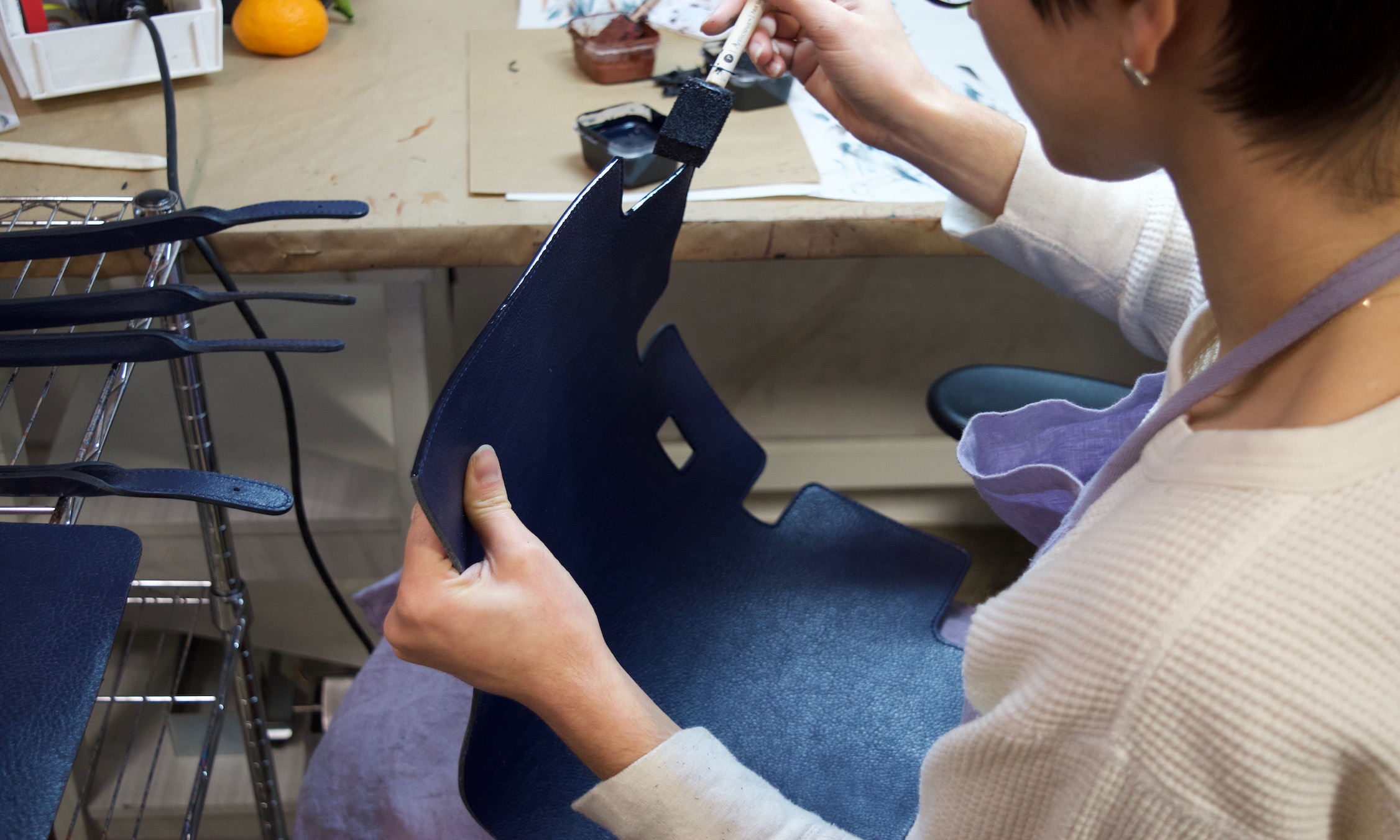 Painting the Lotuff Leather Day Satchel in Indigo