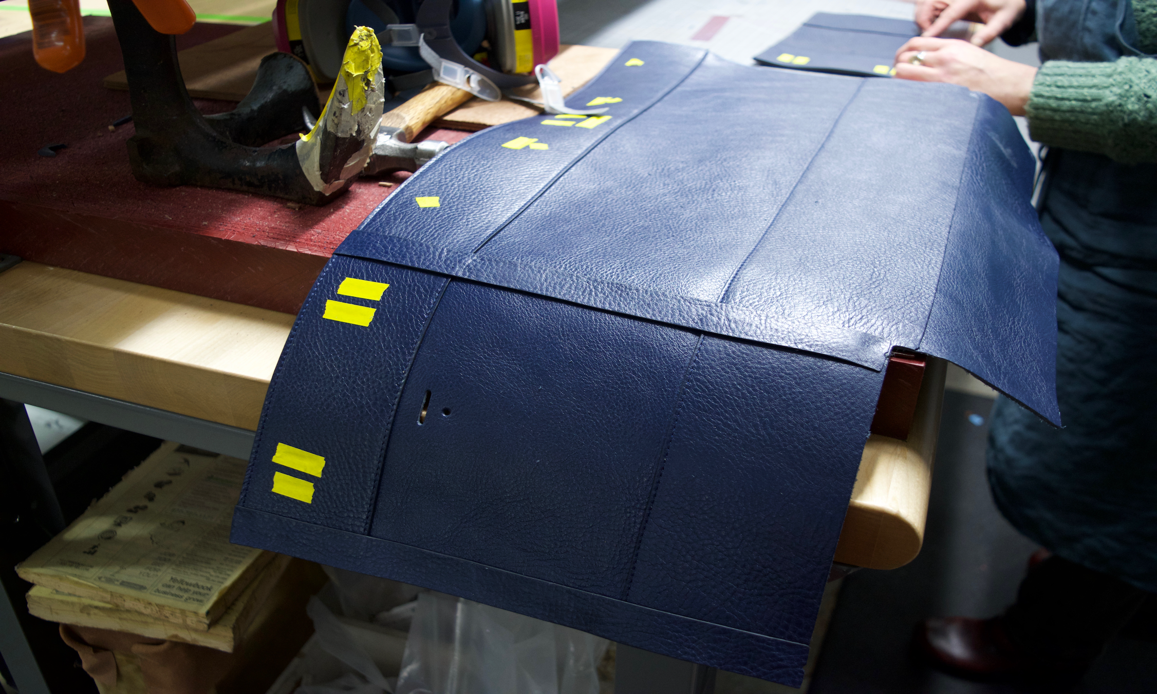 Assembling the sides and collars of the Lotuff Leather Day Satchel