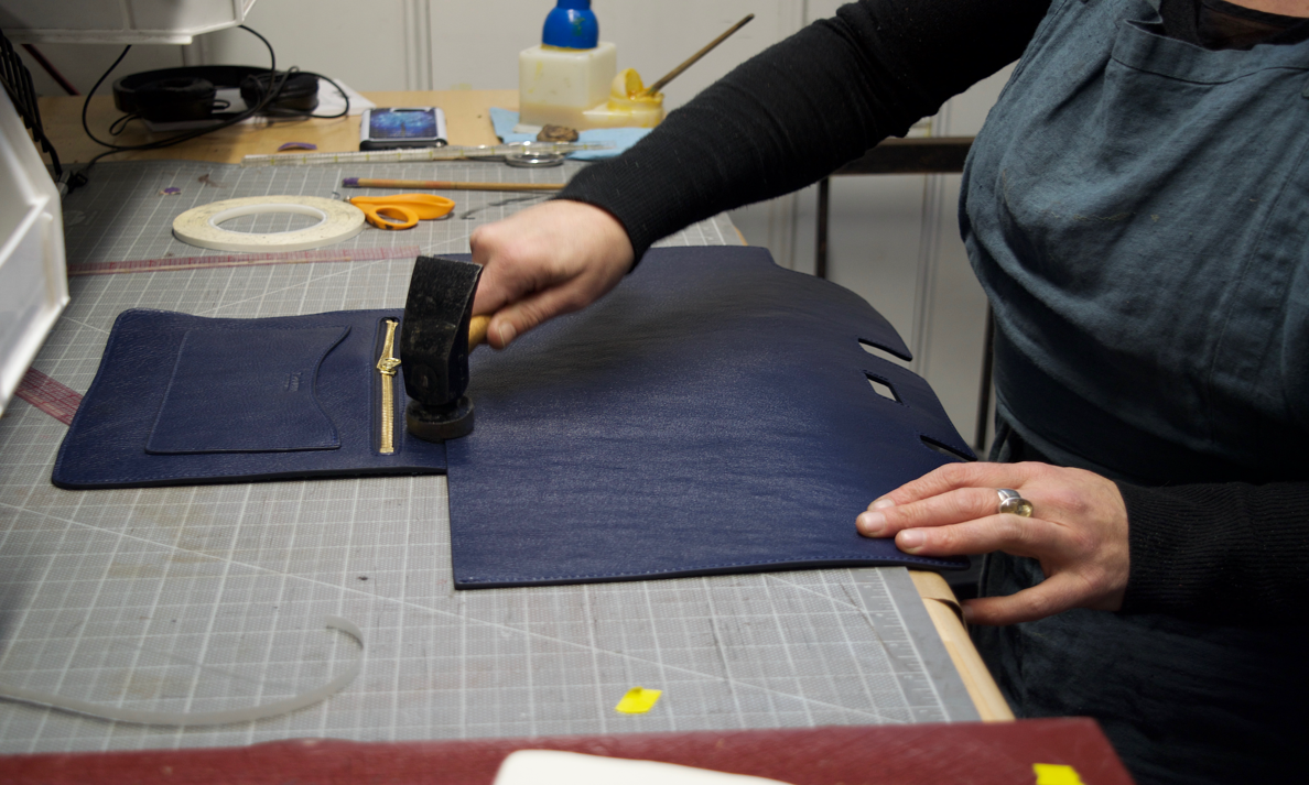 Assembling the interior pocket of the Lotuff Leather Day Satchel