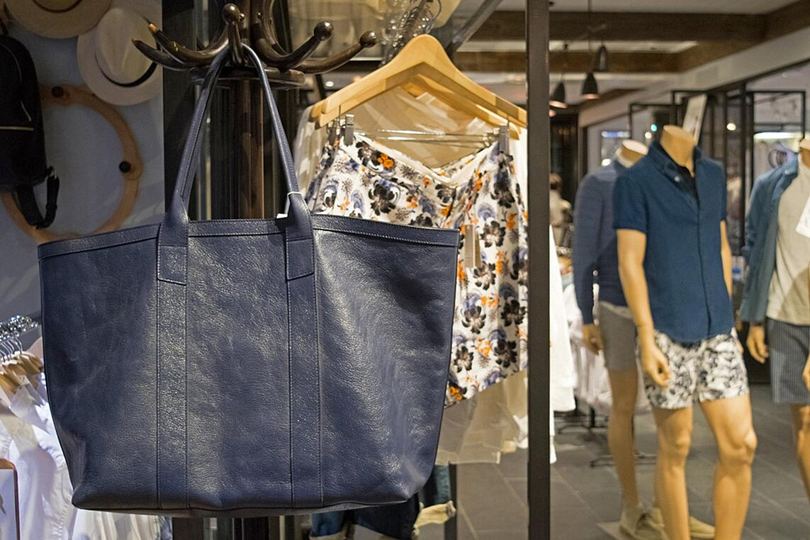 Lotuff Leather Working Tote at Club Monaco in Montreal Canada