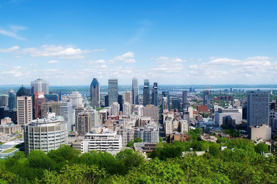 City views from the top of Mont-Royal in Montréal, Quebec, Canada