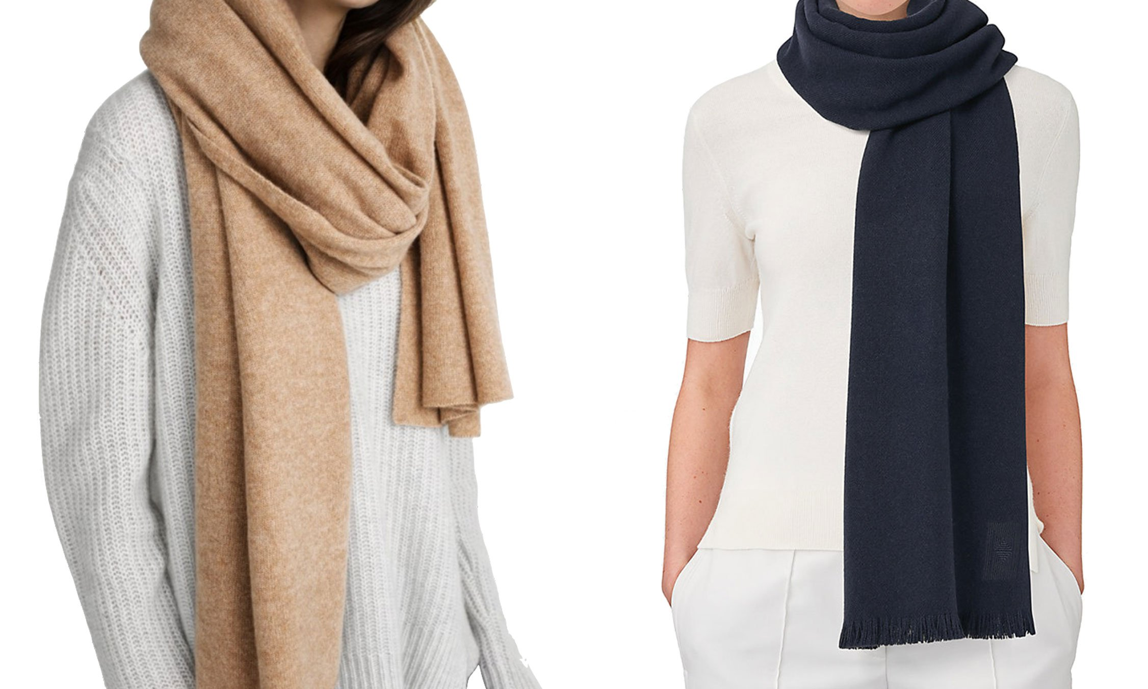 White + Warren Cashmere Travel Wrap in Camel Heather and Hermès Soft Cashmere Stole in Marine