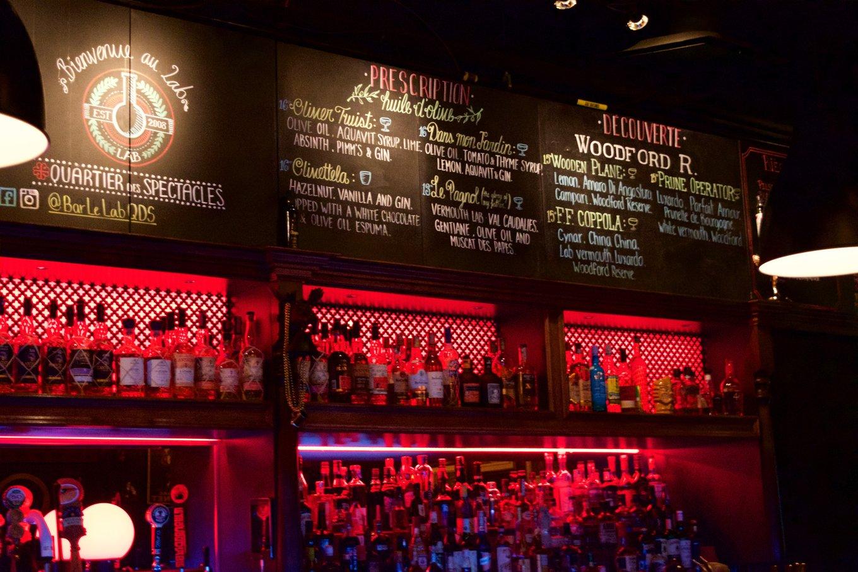 Cocktail menu at Bar Le Lab in Montréal, Quebec, Canada