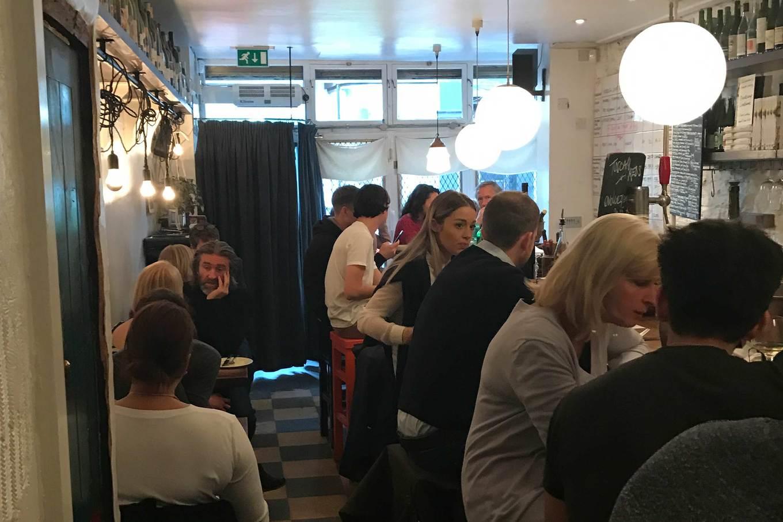 Interior of Ducksoup restaurant in London, England