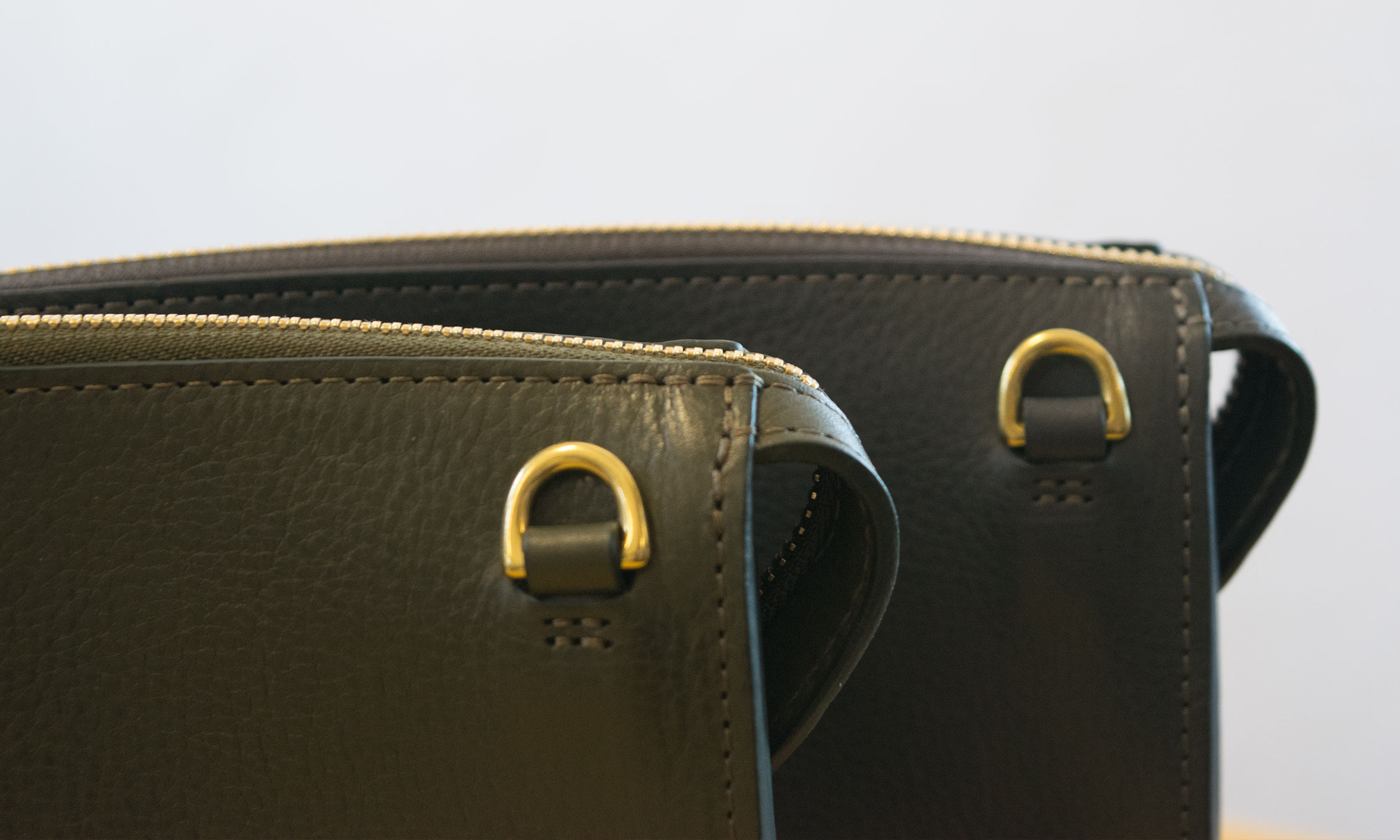 Lotuff Leather Tripp handbag in olive green and elephant