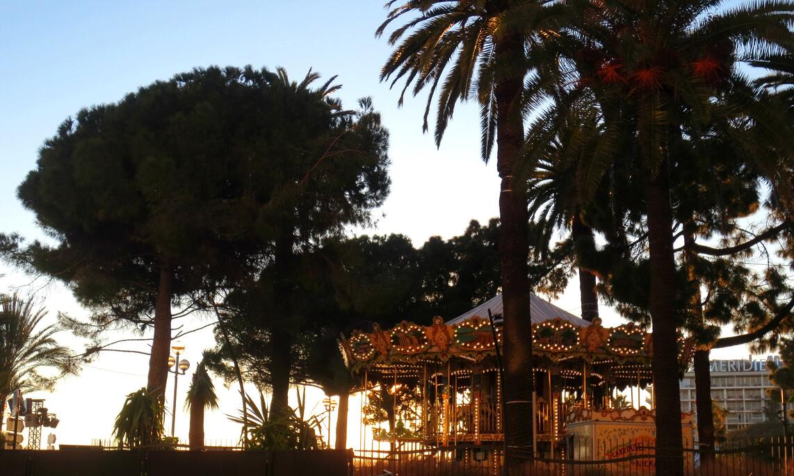 A carousel at sunset in Nice, France
