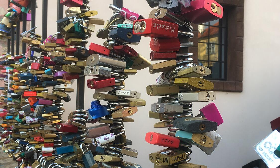 Locks nearby the Lennon Wall in Prague, Czech Republic