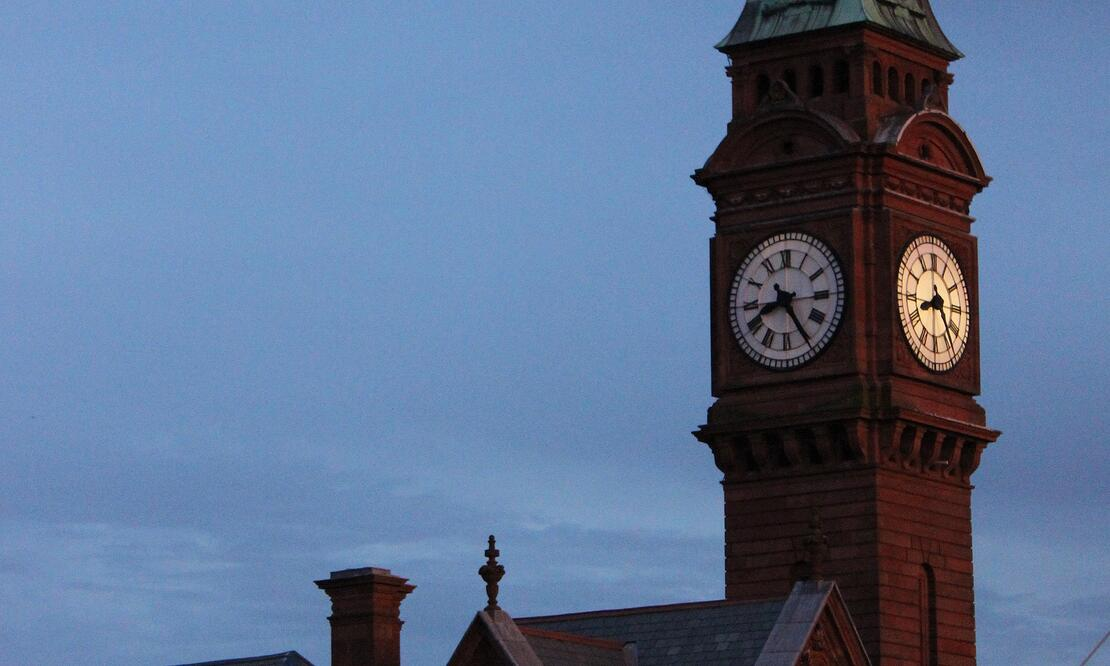 Town hall clock tower in Rathmines, Ireland