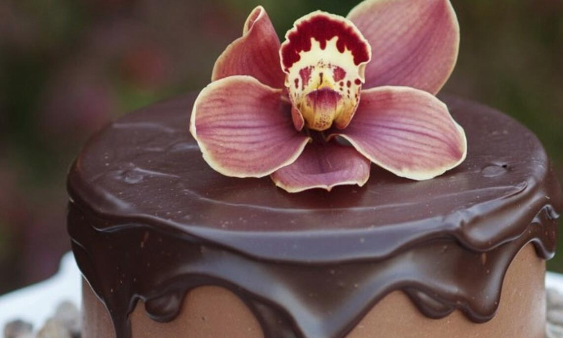 Chocolate cake with flower from Sin Bakery