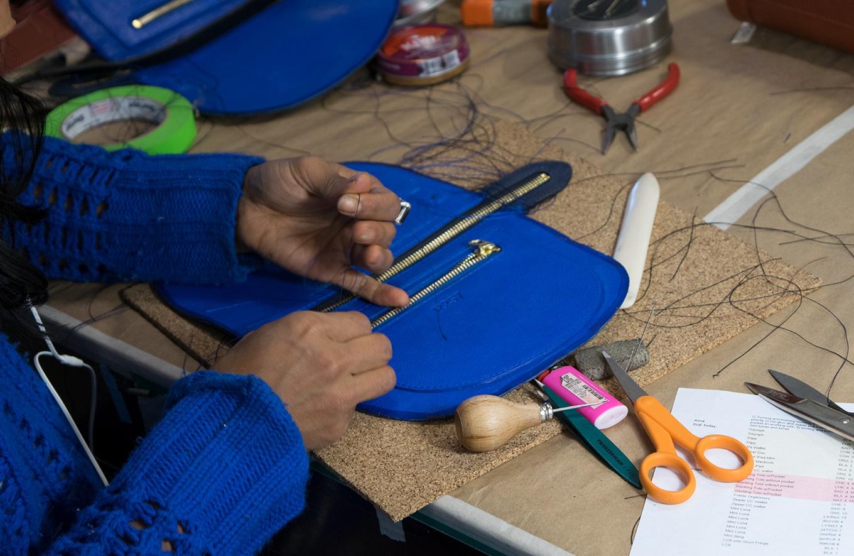 Turning and burning the Lotuff Leather Mini Luna in the design studio