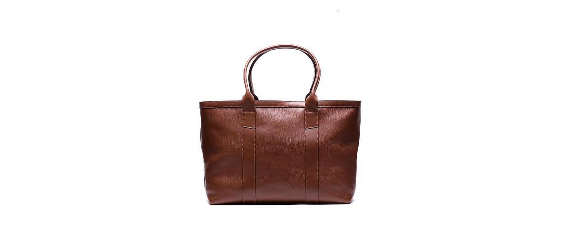 Lotuff Leather Zip-Top Medium Tote in chestnut