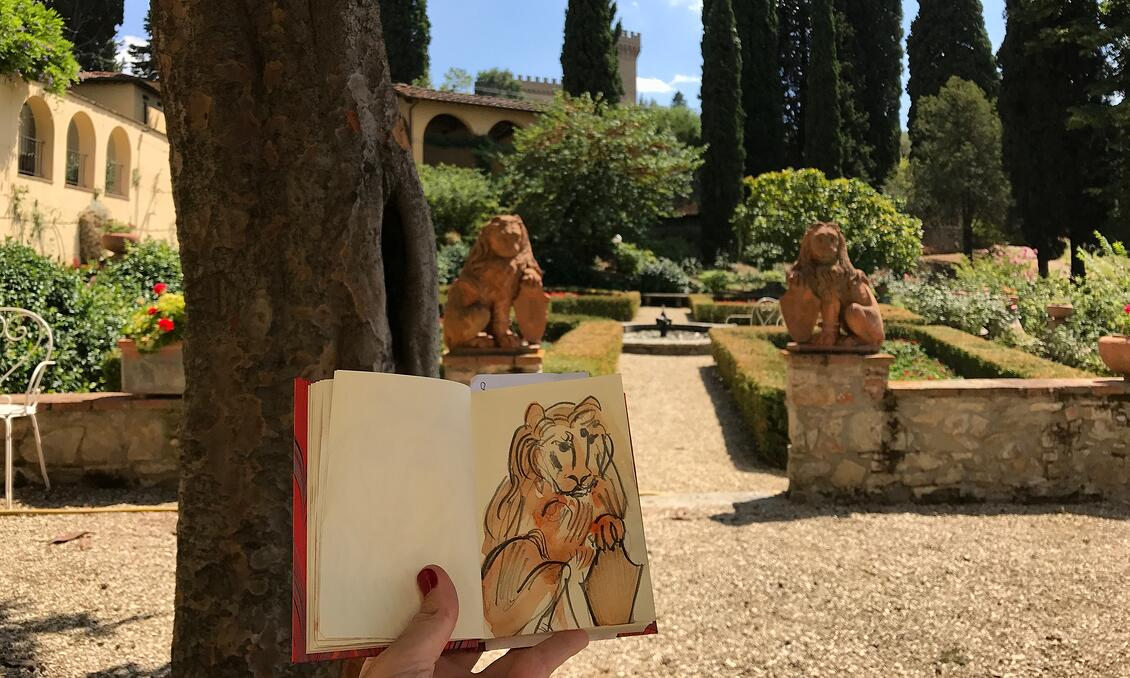 Sketching in the gardens of Florence's Villa Agape