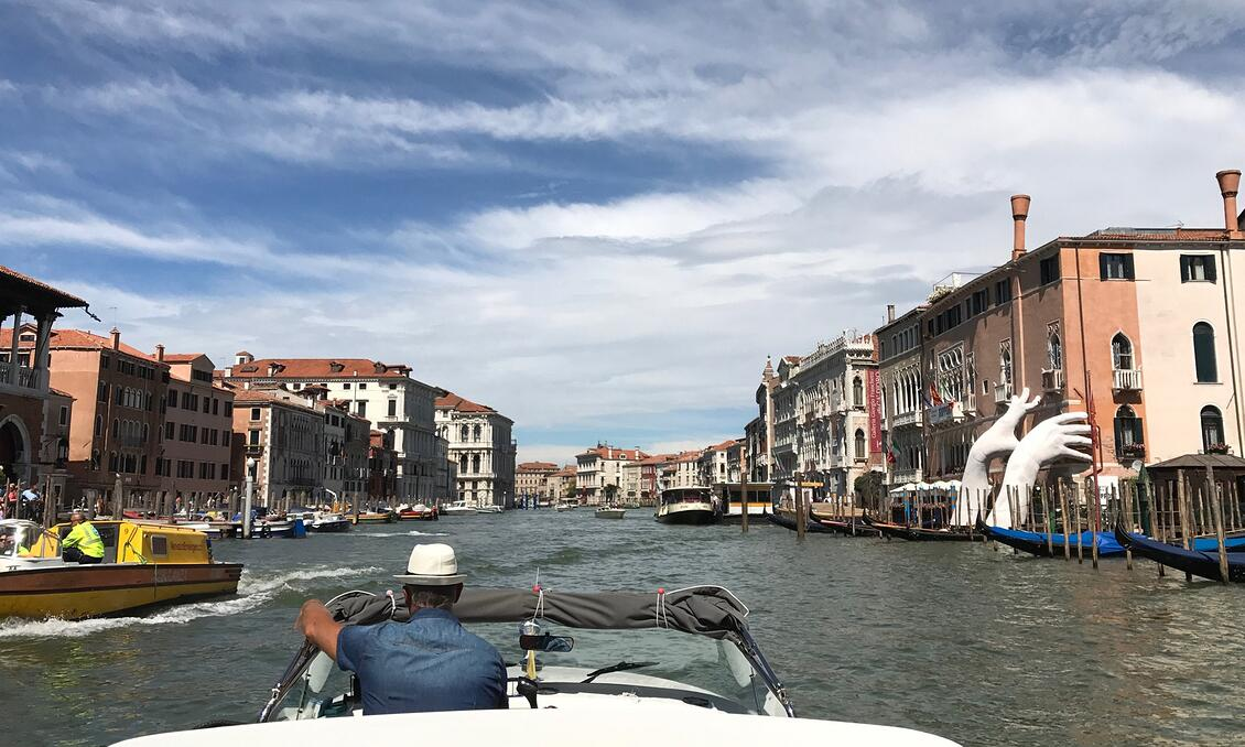Views of Venice from a water taxi